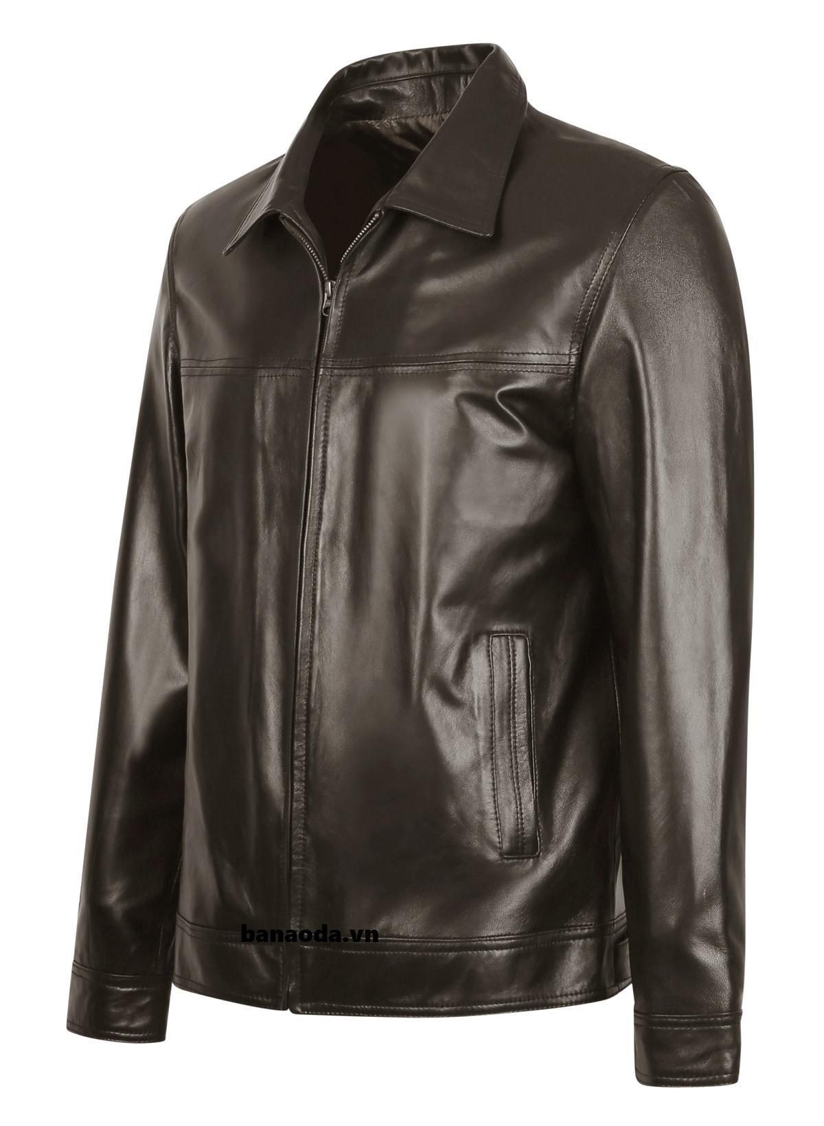 áo khoác da cổ bẻ